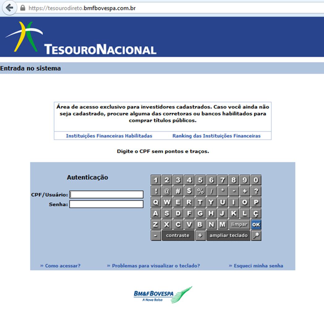 Guia prático - Como investir no tesouro direto - tela de login - Seu Guia de Investimentos